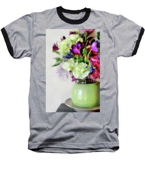 Floral Bouquet In Green Baseball T-Shirt