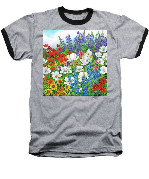Baseball T-Shirt featuring the painting Floral Fusion by Val Stokes