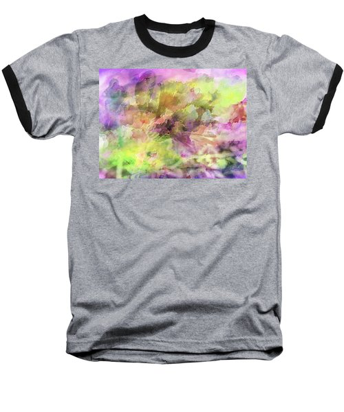 Floral Pastel Abstract Baseball T-Shirt by Mikki Cucuzzo