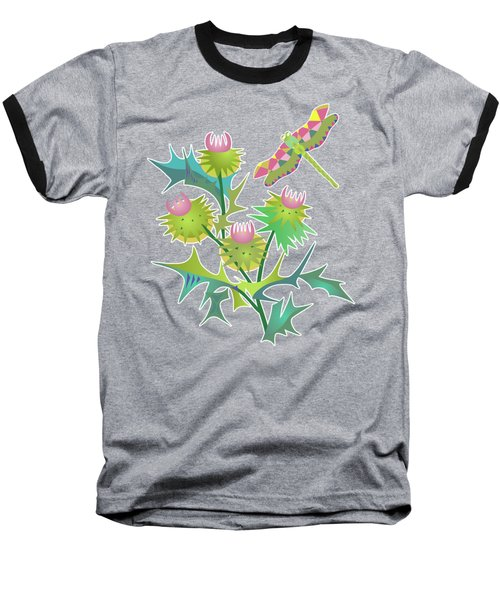 Floral Pattern With Thistle Baseball T-Shirt