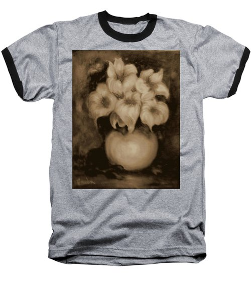 Floral Puffs In Brown Baseball T-Shirt