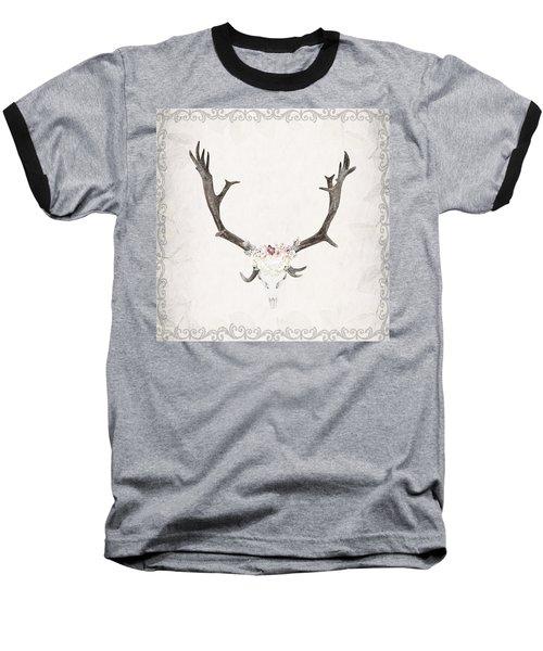 Floral Reindeer Skull  Baseball T-Shirt by Michele Carter