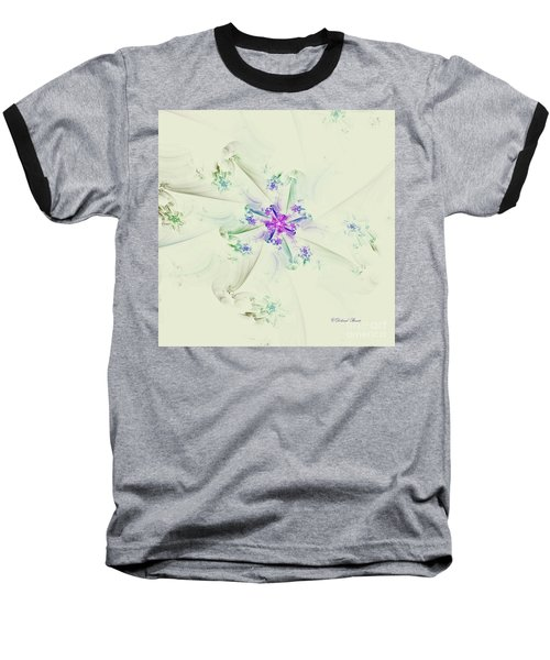 Baseball T-Shirt featuring the digital art Floral Spiral by Deborah Benoit