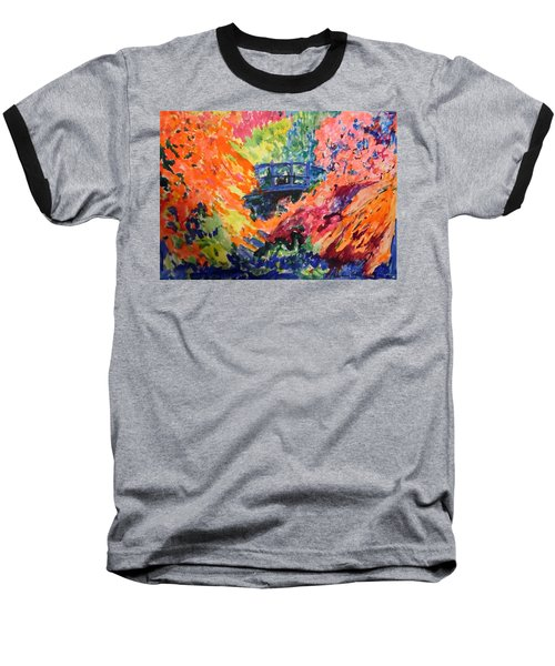 Floral View Of The Bridge Baseball T-Shirt by Esther Newman-Cohen