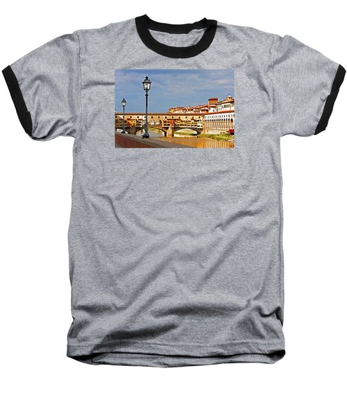 Florence Arno River View Baseball T-Shirt by Dennis Cox WorldViews
