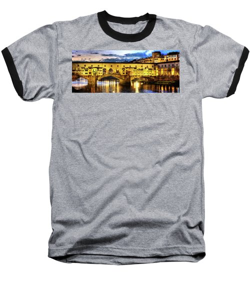Florence - Ponte Vecchio Sunset From The Oltrarno - Vintage Version Baseball T-Shirt