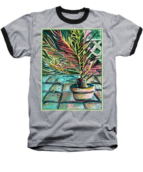 Baseball T-Shirt featuring the painting Florescent Palm by Mindy Newman