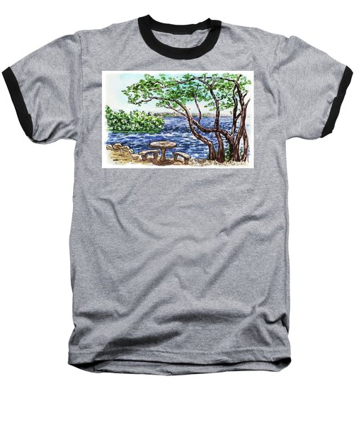 Baseball T-Shirt featuring the painting Florida Keys John Pennekamp Park Shore by Irina Sztukowski