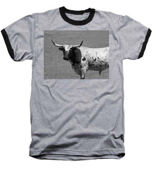 Florida Longhorn Black And White Photo Baseball T-Shirt by Warren Thompson