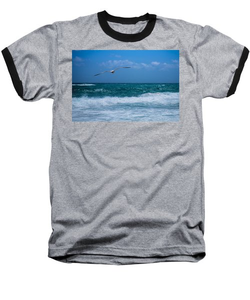 Baseball T-Shirt featuring the photograph Florida Seagull In Flight by Jason Moynihan