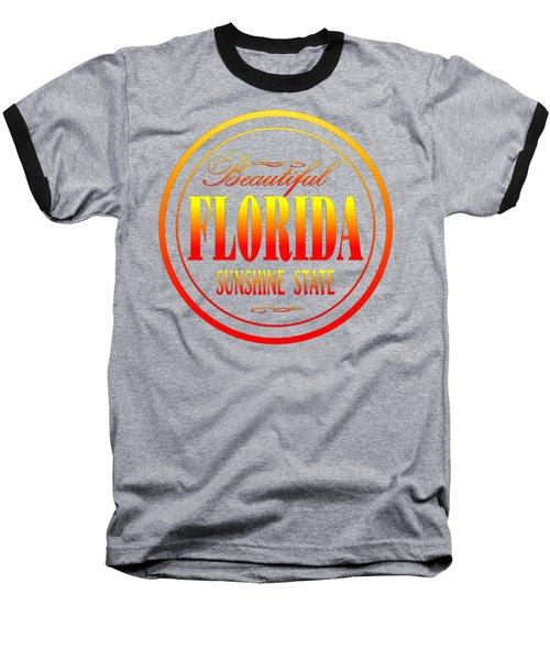 Florida Sunshine State - Tshirt Design Baseball T-Shirt by Art America Gallery Peter Potter
