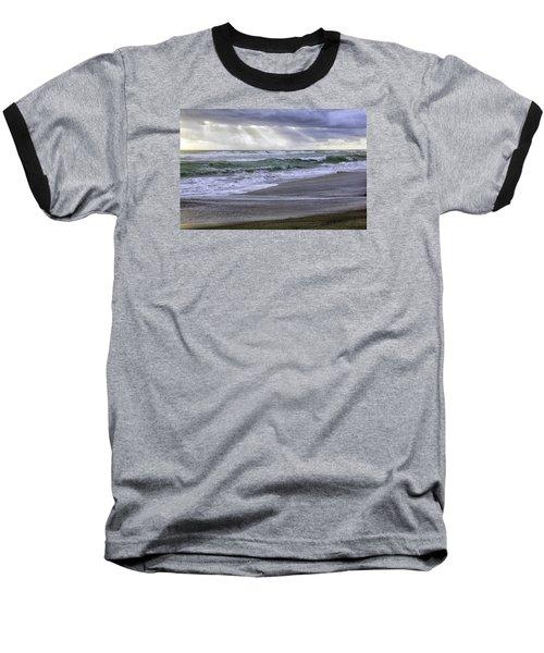 Florida Treasure Coast Beach Storm Waves Baseball T-Shirt by Betty Denise