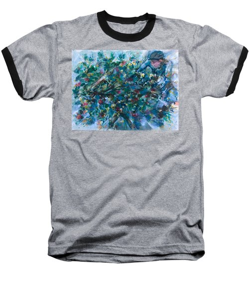 Baseball T-Shirt featuring the painting Flow Away by Laila Awad Jamaleldin