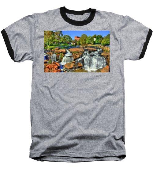 Flow On Reedy River Falls Park Art Greenville Sc Baseball T-Shirt by Reid Callaway