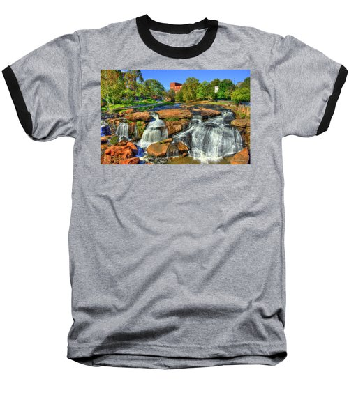 Flow On Reedy River Falls Park Art Greenville Sc Baseball T-Shirt