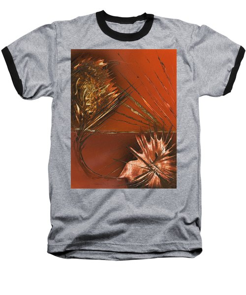 Flower Abstract In Orange And Brown Baseball T-Shirt