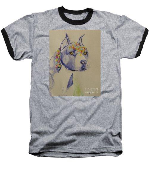 Flower Dog 1 Baseball T-Shirt by Hilda and Jose Garrancho