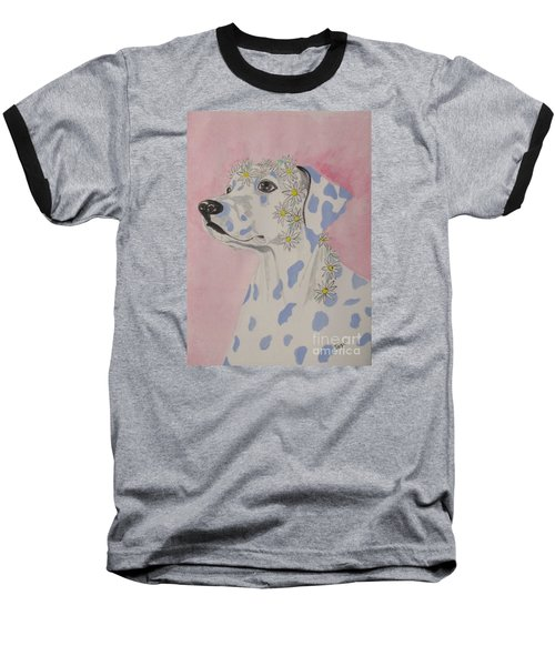 Flower Dog 2 Baseball T-Shirt by Hilda and Jose Garrancho