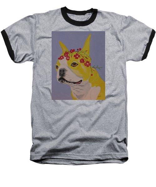Flower Dog 5 Baseball T-Shirt by Hilda and Jose Garrancho