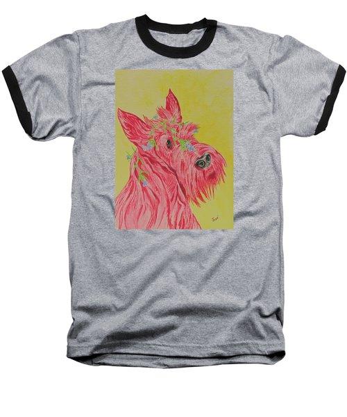 Flower Dog 6 Baseball T-Shirt by Hilda and Jose Garrancho