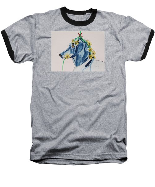 Flower Dog 8 Baseball T-Shirt by Hilda and Jose Garrancho