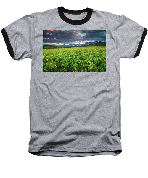 Flower Field And Sneffels Range Baseball T-Shirt