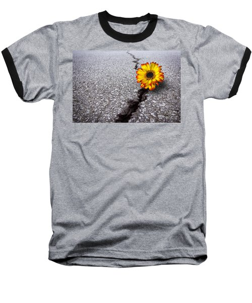 Flower In Asphalt Baseball T-Shirt by Carlos Caetano