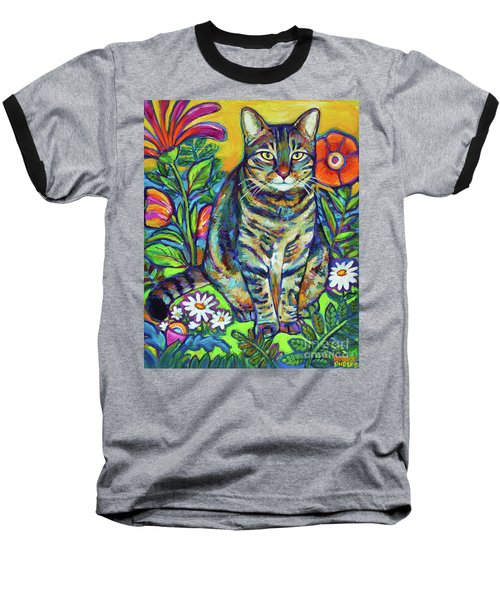 Baseball T-Shirt featuring the painting Flower Kitty by Robert Phelps