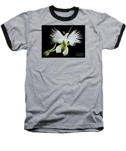 Flower Oddities - Flying White Bird Flower Baseball T-Shirt