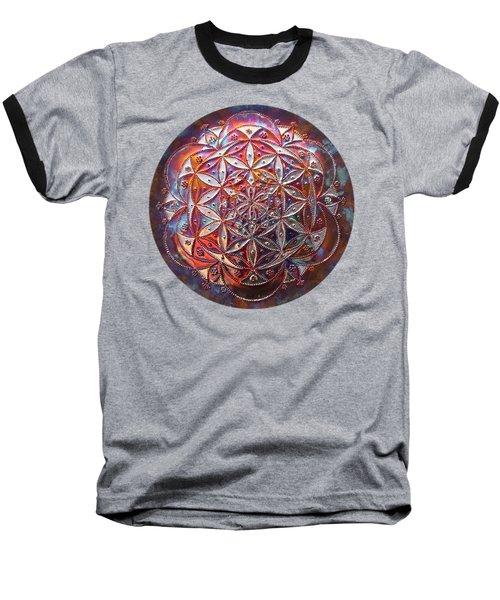 Baseball T-Shirt featuring the sculpture Flower Of Life Copper Lightmandala by Robert Thalmeier