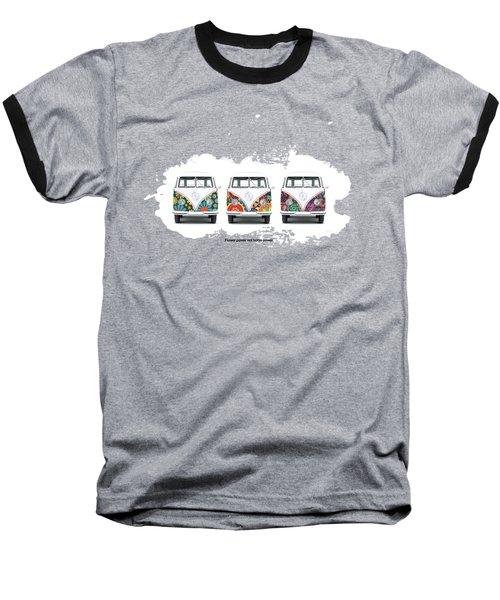 Flower Power Vw Baseball T-Shirt by Mark Rogan