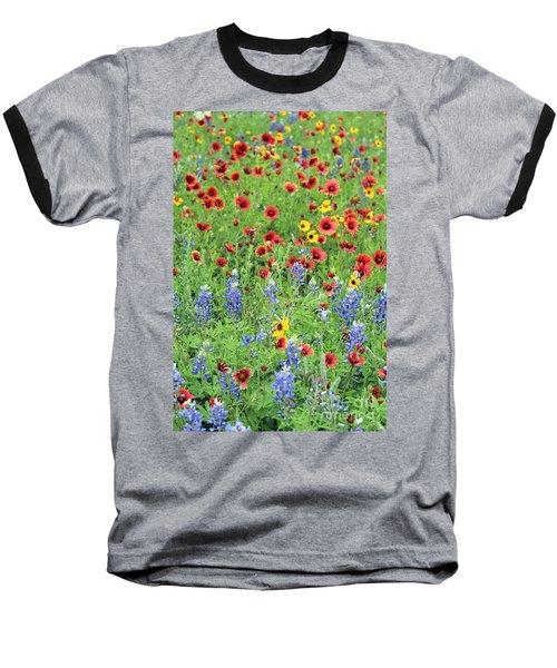 Flower Quilt Baseball T-Shirt by Joe Jake Pratt