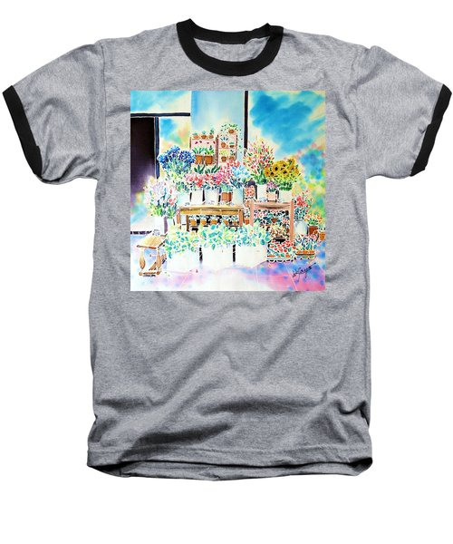 Baseball T-Shirt featuring the painting Flower Shop In Paris by Hisayo Ohta