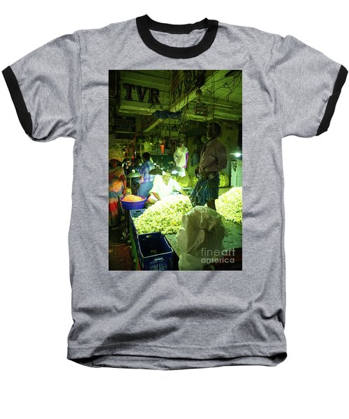 Baseball T-Shirt featuring the photograph Flower Stalls Market Chennai India by Mike Reid