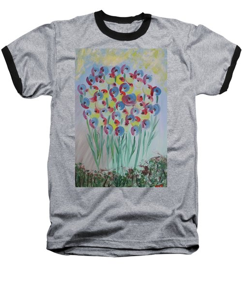 Flower Twists Baseball T-Shirt by Barbara Yearty