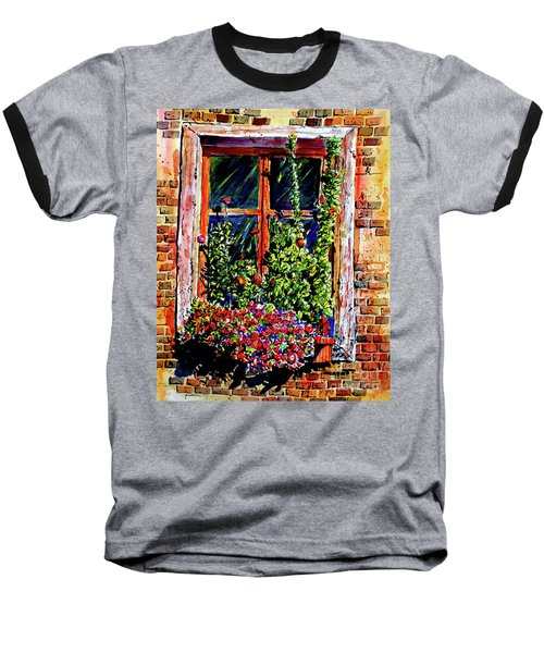 Baseball T-Shirt featuring the painting Flower Window by Terry Banderas