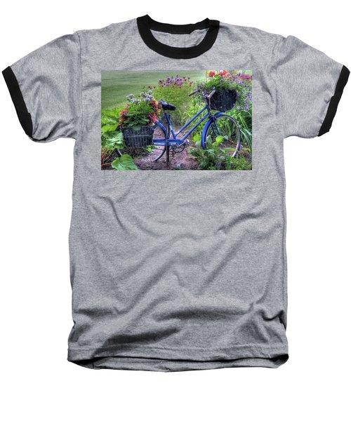 Flowered Bicycle Baseball T-Shirt
