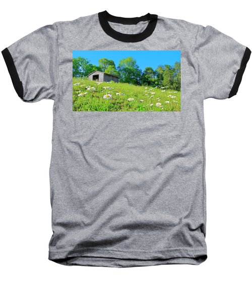 Flowering Hillside Meadow - View 2 Baseball T-Shirt