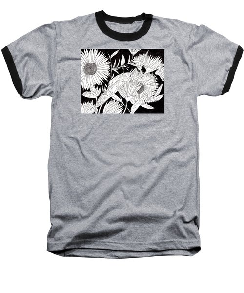 Baseball T-Shirt featuring the drawing Flowers 2 by Lou Belcher
