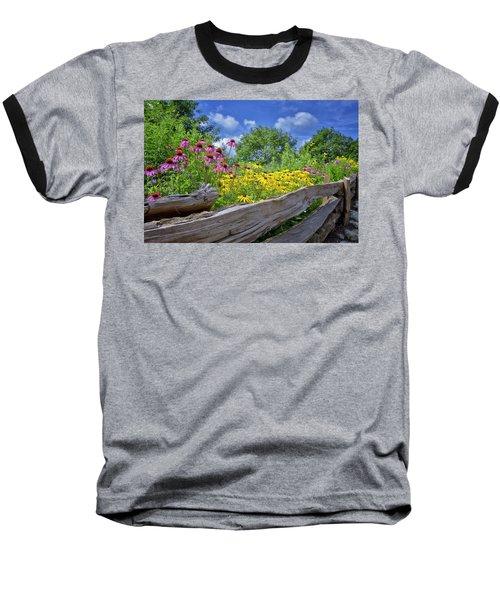 Flowers Along A Wooden Fence Baseball T-Shirt by Steve Hurt