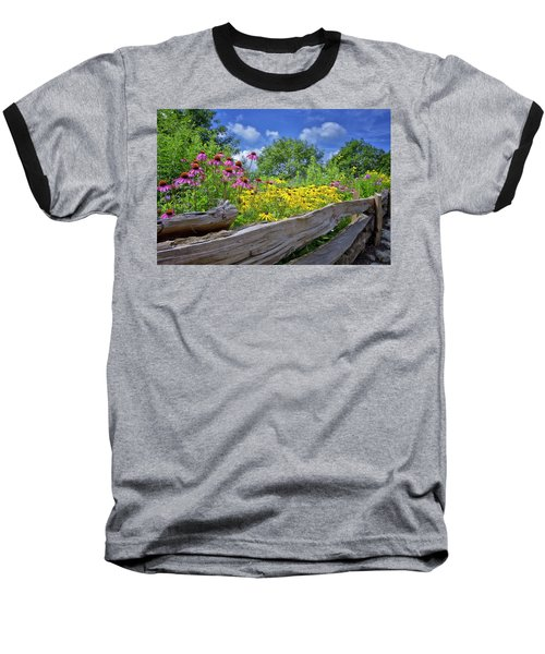 Flowers Along A Wooden Fence Baseball T-Shirt