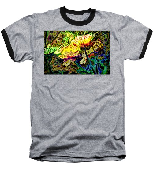Flowers And Butterfly Baseball T-Shirt
