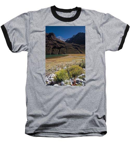 Flowers And Mountain Lake In Santa Cruz Valley Baseball T-Shirt by Aivar Mikko