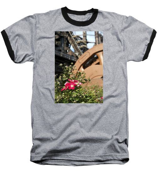 Baseball T-Shirt featuring the photograph Flowers And Steel by Michael Dorn
