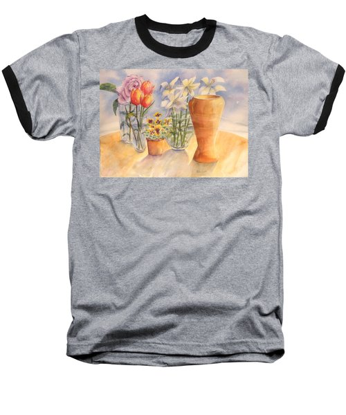 Flowers And Terra Cotta Baseball T-Shirt