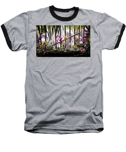 Flowers And Waterfall Baseball T-Shirt