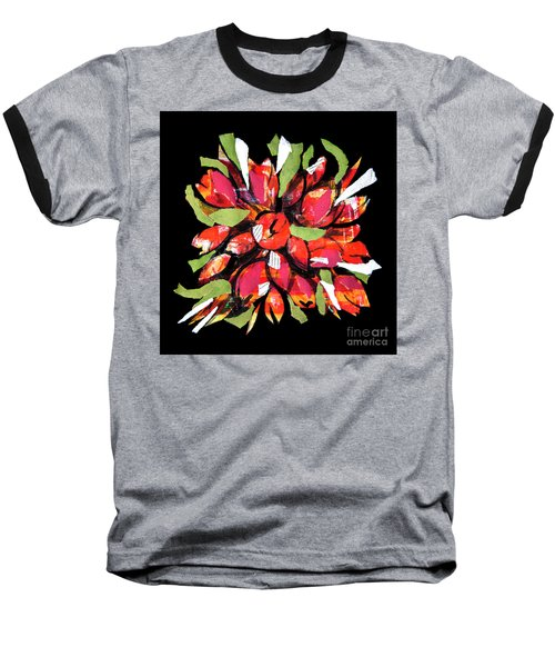 Flowers, Art Collage Baseball T-Shirt