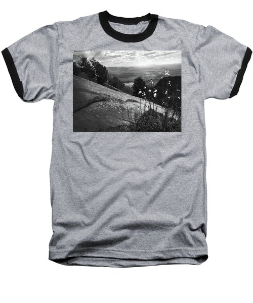 Flowers At Table Rock Overlook In Black And White Three Baseball T-Shirt