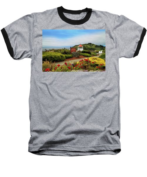 Baseball T-Shirt featuring the photograph Flowers At The Trinidad Lighthouse by James Eddy