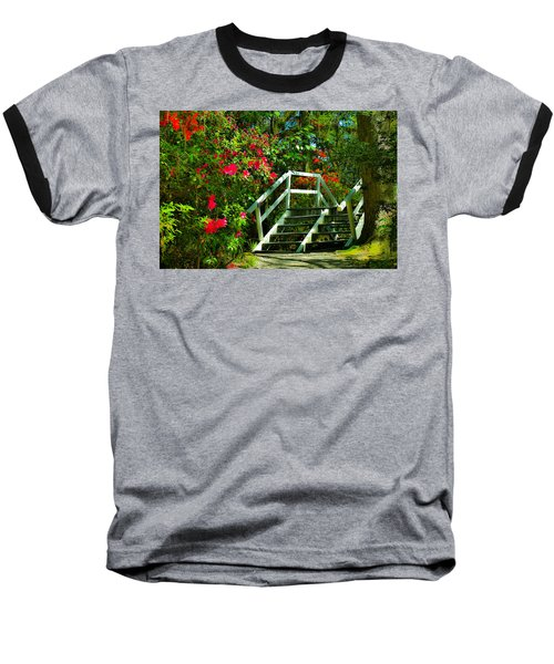 Flowers Bloom Alongside Magnolia Plantation Bridge - Charleston Sc Baseball T-Shirt